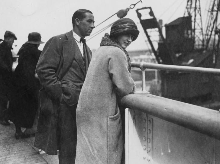 Couple on board a ship, circa the 1920s.