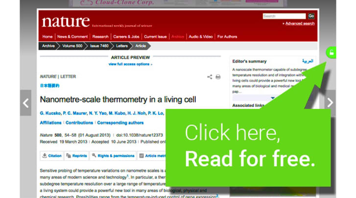 A Nature study online features a green box that says 'Click here, read for free.'