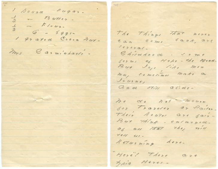 Handwritten pages of a recipe and a poem by Emily Dickinson