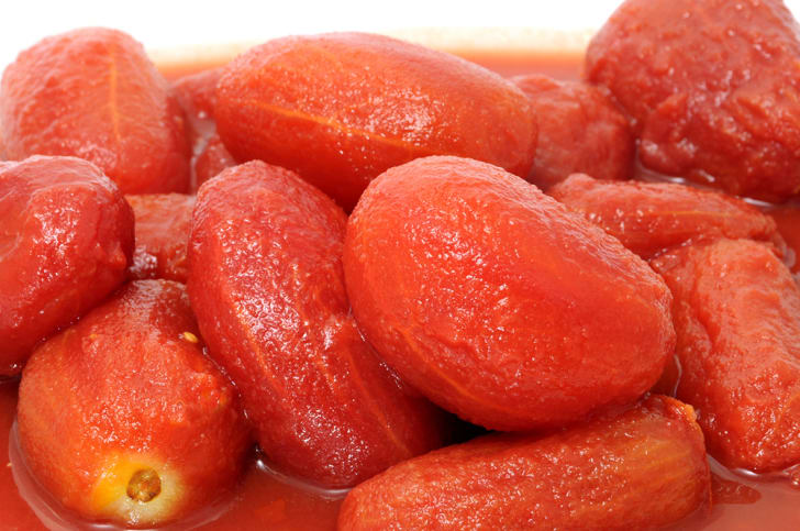 Peeled tomatoes in a bowl