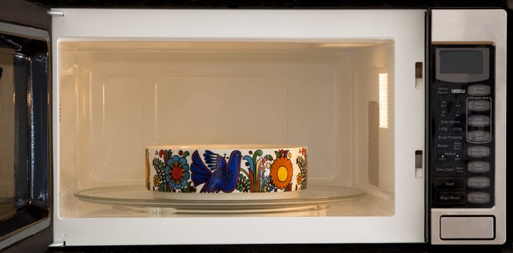 A ceramic bowl in the microwave