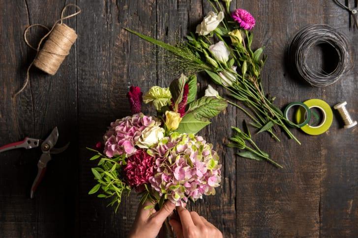 Florist preparing flowers