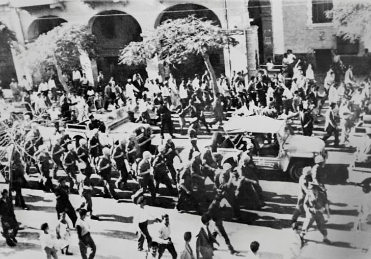 United Nations troops enter Port Said, on November 15, 1956 during the Suez Crisis.