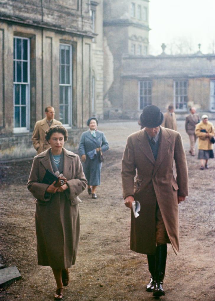 Queen Elizabeth II at Badminton House, Gloucestershire in 1956