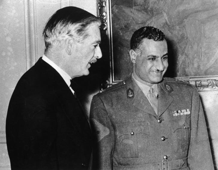 Egyptian President Gamal Abdel Nasser (1918 - 1970) with British Prime Minister Anthony Eden (1897 - 1977) in Cairo, 1955