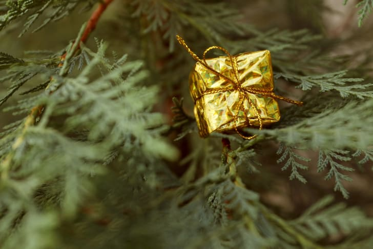 Present hanging from a Christmas tree