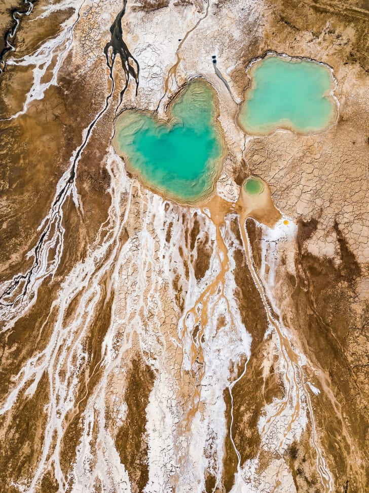 Aerial drone photos of the Dead Sea in Israel, shot by Israeli photographer Tzvika Stein.