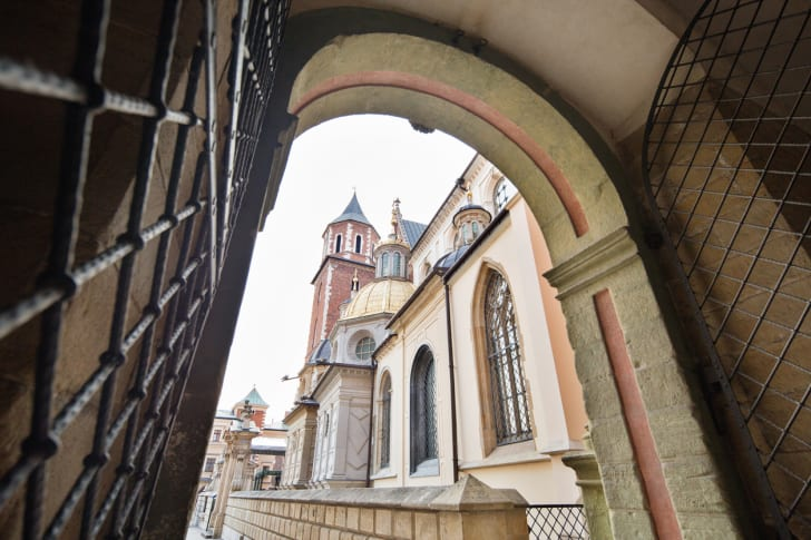 View of the Wawel Cathedral from the Wawel Castle entrance