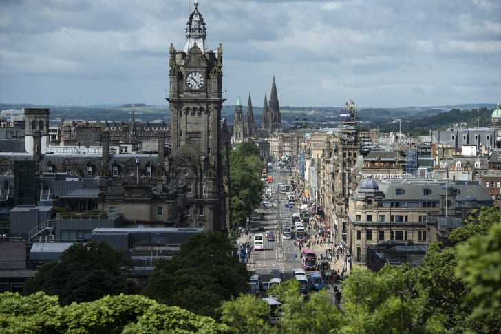 Princes Street pictured from Calton Hill in the center of Edinburgh, Scotland