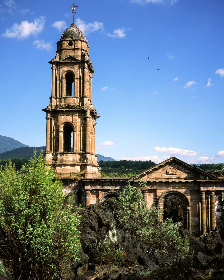 Abandoned church in San Juan Parangaricutiro, Mexico.