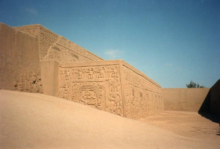 The walls of Chan Chan, Peru.