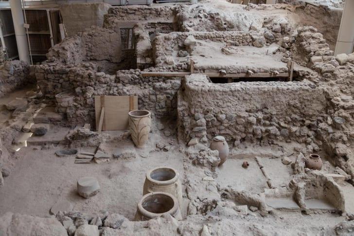 Excavation of Akrotiri, Greece
