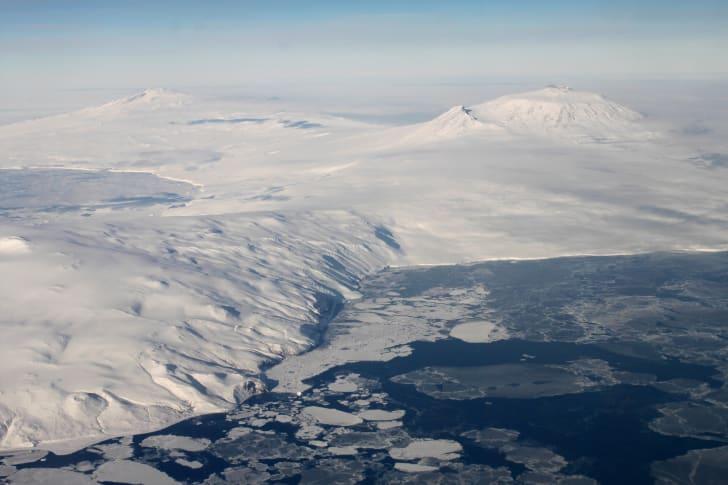 Aerial view of Antarctica.