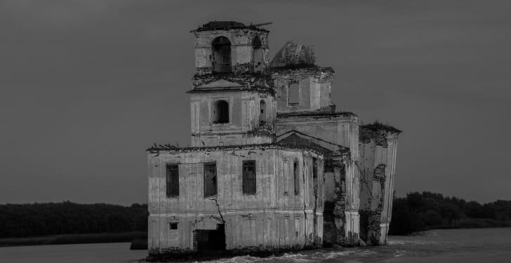 Church ruins in the Rybinsk Reservoir.