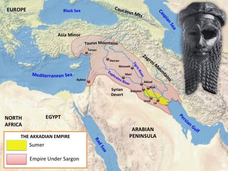 Map of Akkadian Empire.