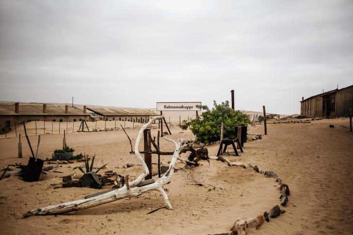 The abandoned town of Kolmanskop, Namibia.