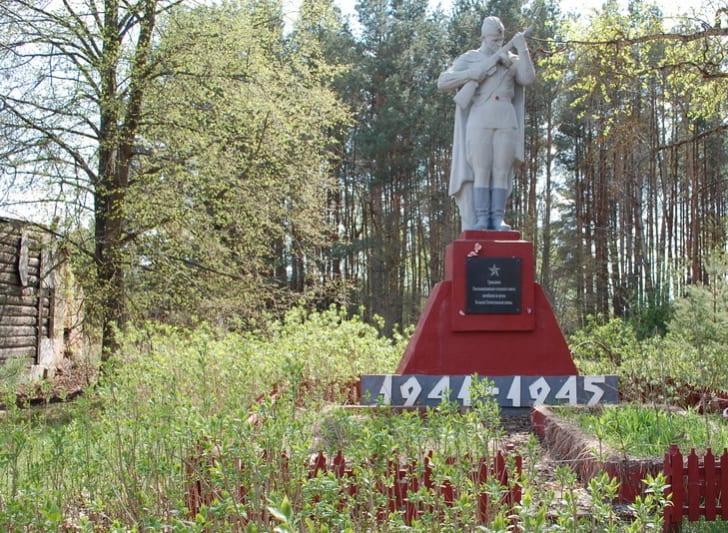 Old war memorial in an abandoned town in Belarus.
