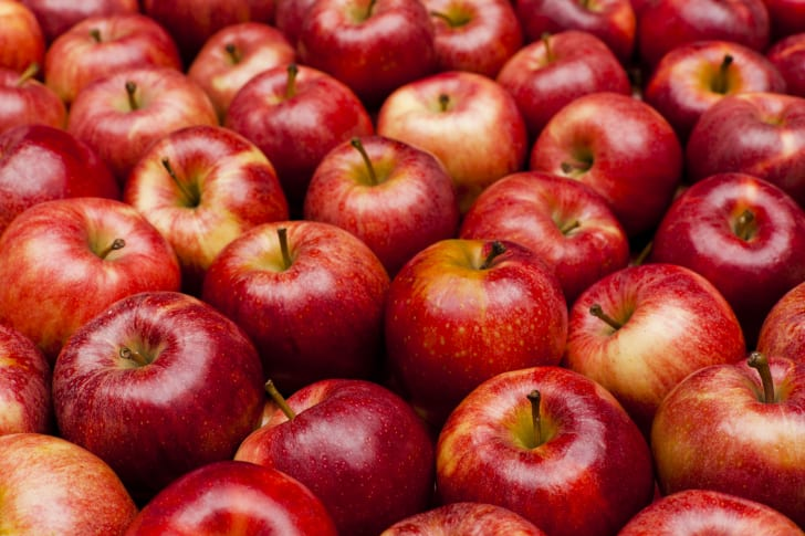 A close up of red apples.