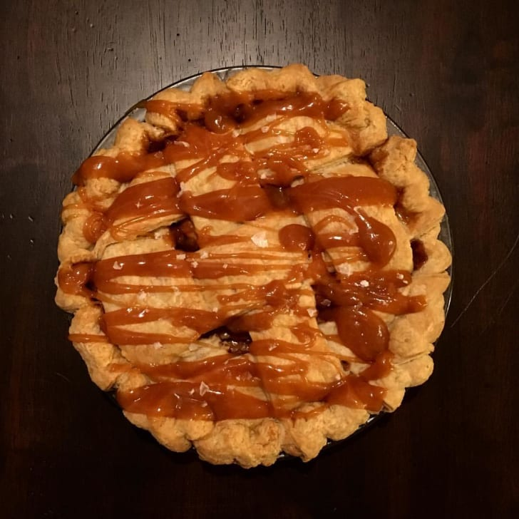 A photo of salted caramel apple pie from Bramble.