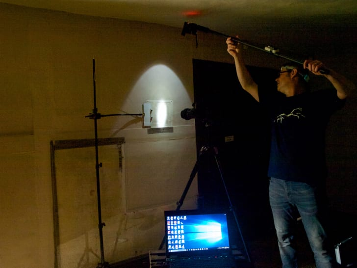 Conservators using light technology to survey the walls of Woolsthorpe Manor,  the childhood home of Sir Isaac Newton.