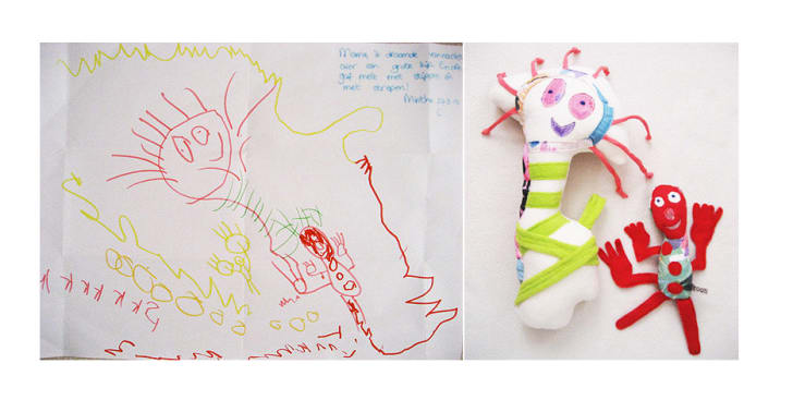 child's drawing and custom toy
