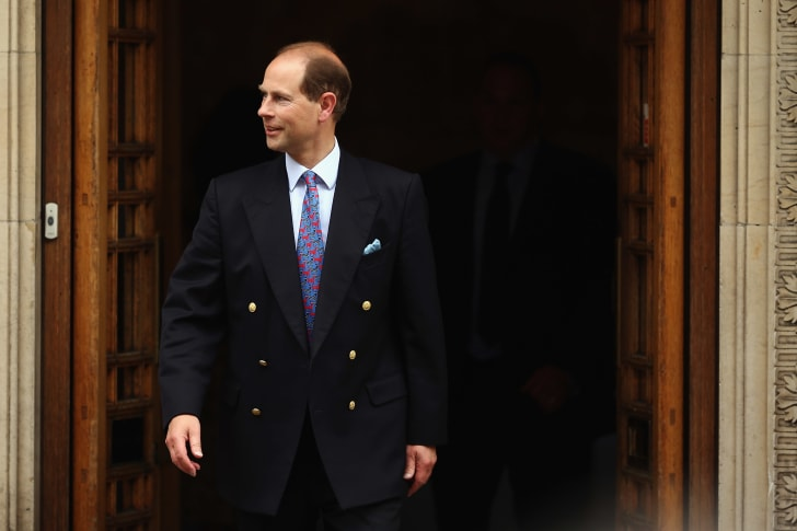 Prince Edward, Earl of Wessex leaves after a visit to Prince Philip