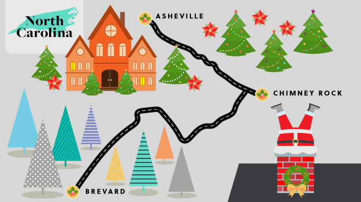 North Carolina holiday road map