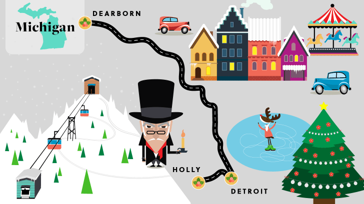 Michigan holiday road map.