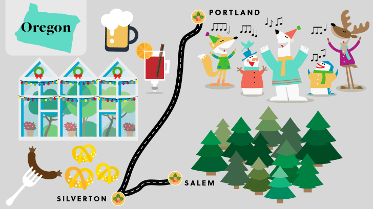 Oregon holiday road map