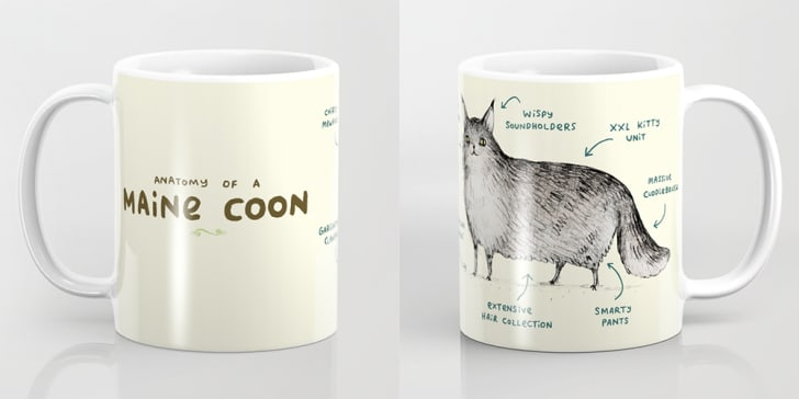 Two images of a mug that reads 'Anatomy of a Maine Coon' with a drawing of a cat on it