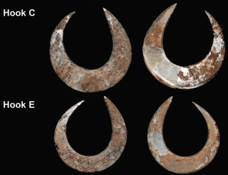 Prehistoric fish hooks found in Indonesia by archaeologists from Australian National University.