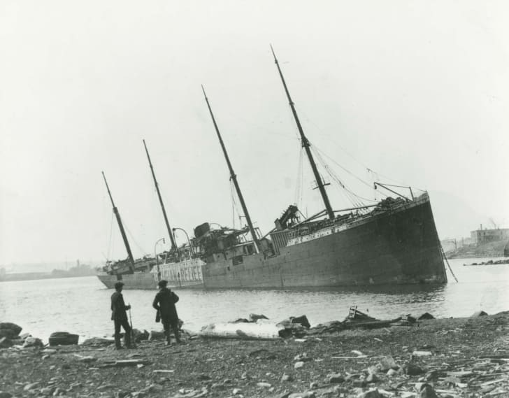 A ship involved in the 1917 Halifax Explosion