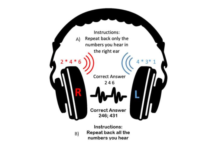 Instructions for the audio test read 'Repeat back only the numbers you hear in the right ear.'