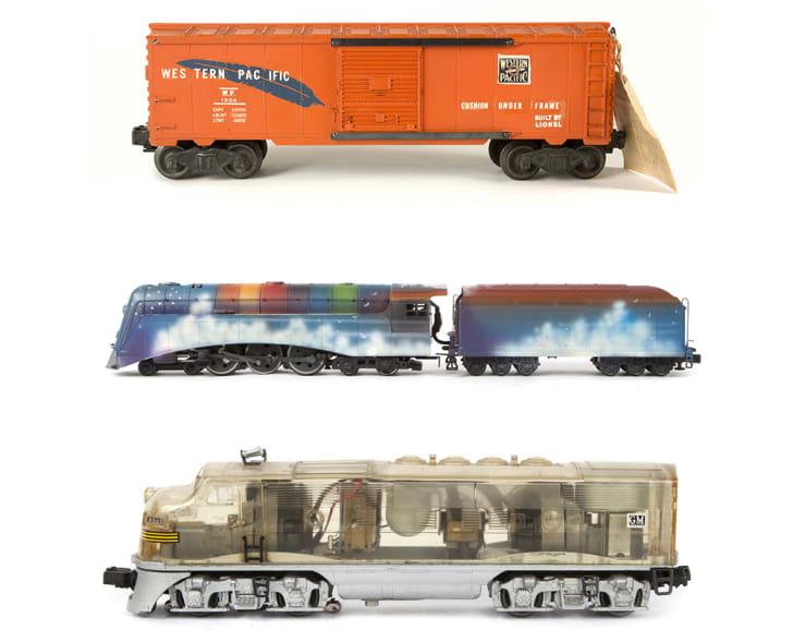 Three model trains