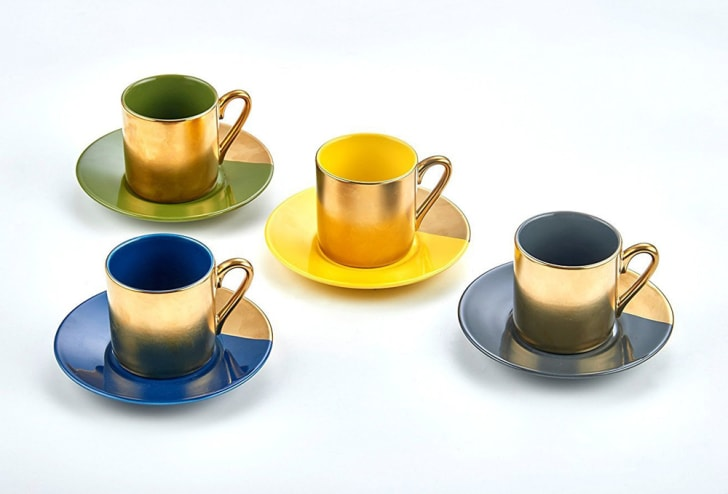 Yedi desert gold espresso cups and saucers