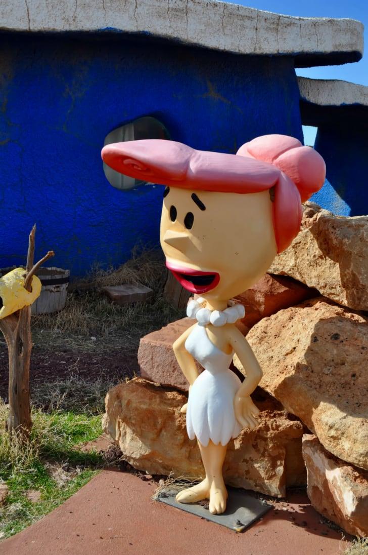 A statue of Wilma Flintstone at Bedrock City in Arizona