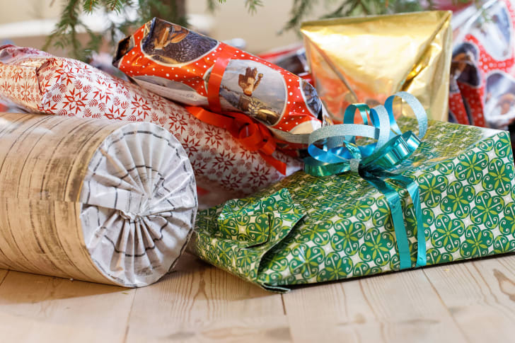Wrapped packages under the tree.
