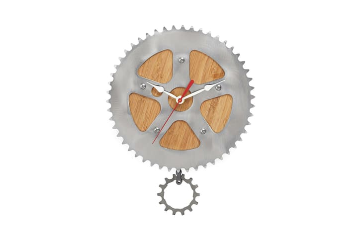 A clock made of a bike gear and bamboo