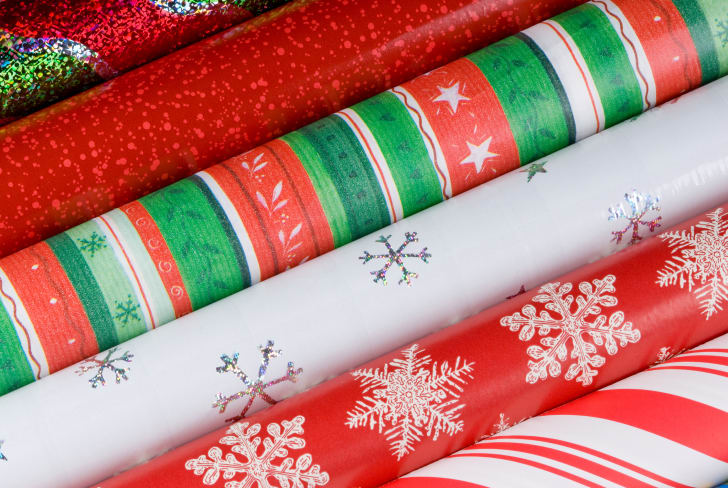 A close-up of rolls of wrapping paper.
