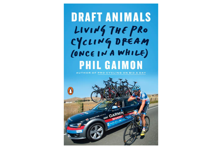 The cover of a book shows a cyclist riding next to a car.
