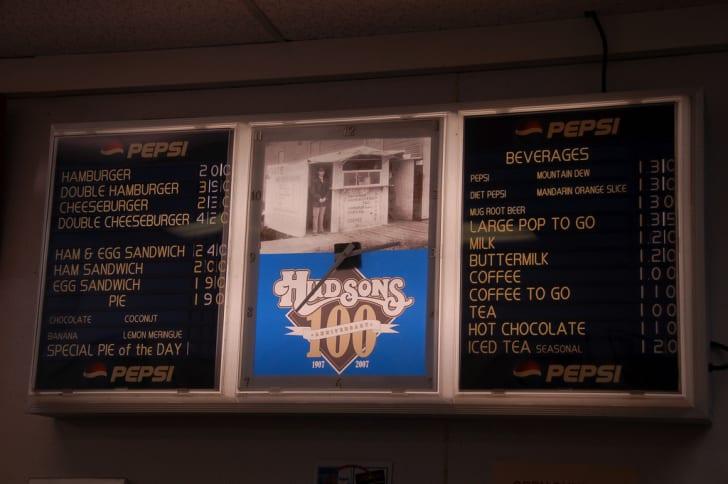 Sign at Hudson's Hamburgers