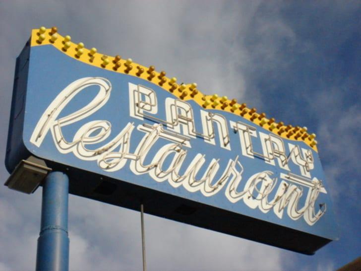 Sign at The Pantry in Santa Fe, New Mexico