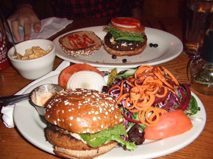 Vegan burgers at the Chicago Diner.