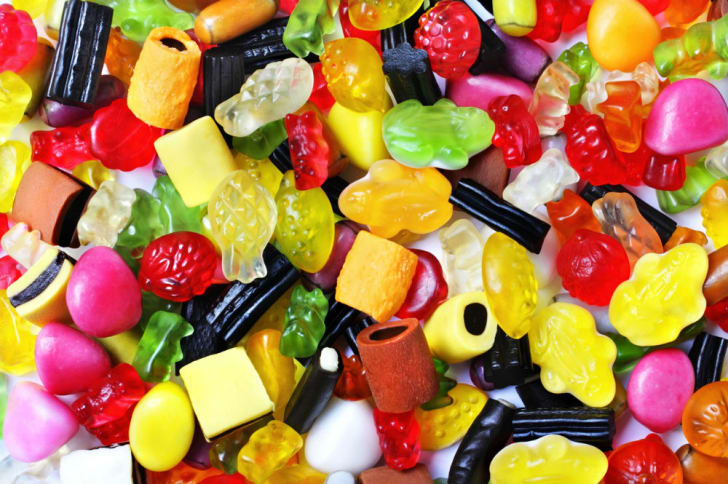 A candy assortment is pictured