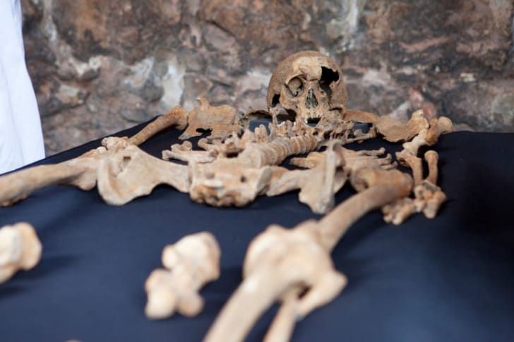 A skeleton belonging to a victim of the Black Plague, unearthed by archaeologists while expanding the London Underground.