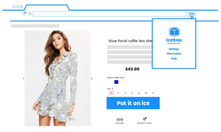 """A web site advertising a dress features a blue button that says """"Put it on ice."""""""
