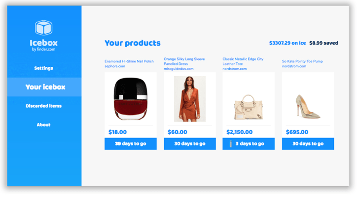 """A screenshot of Icebox's virtual shopping cart with its """"thawing"""" items"""