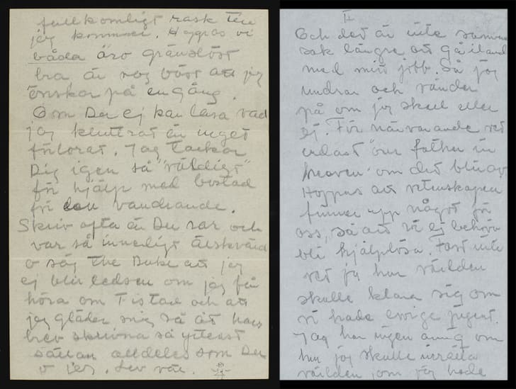 Two letters written by Greta Garbo in Swedish side-by-side