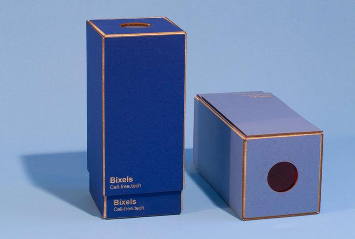 Two blue boxes hold Bixel pixel grids.