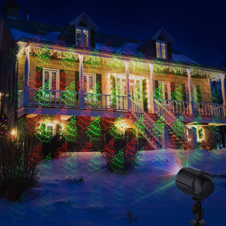 holiday lights projected onto a house